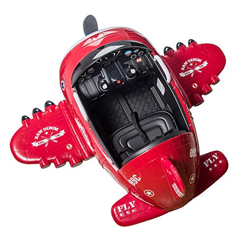 TOBBI 12V Airplane Style Electric Kids Ride on Car Toy for Aged 3-6, 360 Degree Rotate by 2 Joysticks Control/ Remote Control, Red