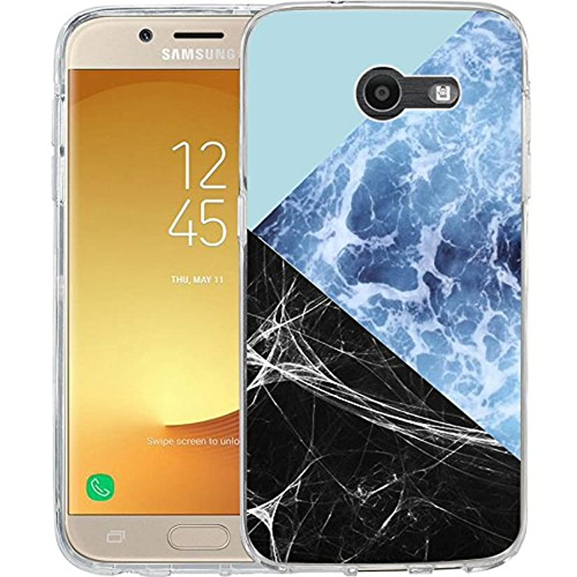 Compatible to Samsung Galaxy J7 V / J7 2017 / J7 Prime / J7 Perx / J7 Sky Pro/Galaxy Halo Case, TPU Rubber Soft Skin Silicone Protective Case Cover Blue Marble Stitching