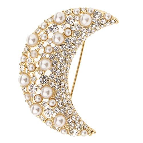 Harilla Broche de Joyería Pin Accesorios de Vestir Medalla Collar de Luna Broche de Perlas para Mujer