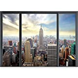 murando - 3D ILLUSIONE OTTICA | 140x100 cm 3D ILLUSIONE OTTICA | Carta da parati sulla fliselina | Hit | Carta da parati in TNT | Quadri murali | Fotomurale | Finestra Citta City New York Panorama