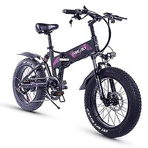 XXCY 20 Zoll Fetter Reifen, 36V 500W Motor, faltbares Fahrrad, elektrisches Fahrrad, Mobile Lithiumbatterie Shimano 7-Gang hydraulische Scheibenbremse
