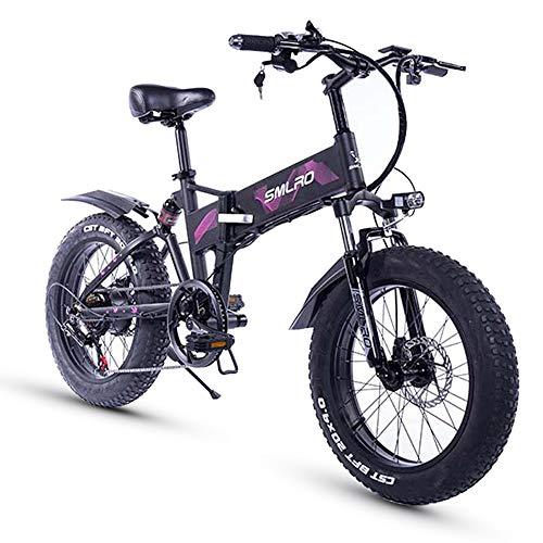 XXCY Pneumatico Grasso 20 Pollici, Motore 48v 500w, Bicicletta Pieghevole, Bici Elettrica, Batteria al Litio Mobile Shimano Freno a Disco a 7 velocità