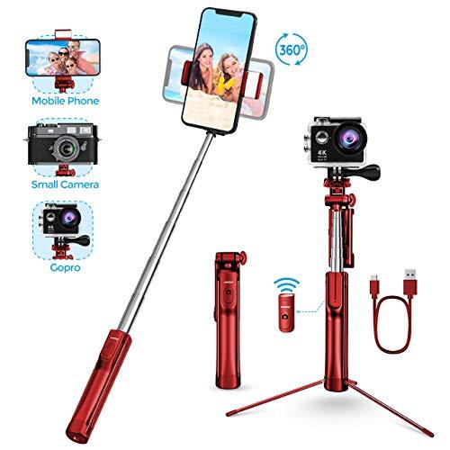 Mpow Bastone Selfie, 3 in 1 Monopiede Allungabile Selfie Stick Telecomando Wireless e Luce di Riempimento, Compatibile per Gopro, iPhone XS Max/XS/XR/X / 8/8plus 7/7plus / 6s, Galaxy S10 / S9 / 8