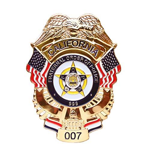 JXS Reproducción de la Insignia de la policía de los Estados Unidos, 1: 1 Reproducción de la Insignia de la policía de California, la colección de medallas Militares de latón 6.6 × 8.9cm