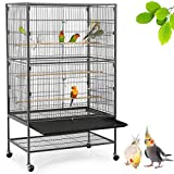 YAHEETECH 52-inch Wrought Iron Standing Large Flight King Bird Cage for Cockatiels African Grey Quaker Amazon Sun...