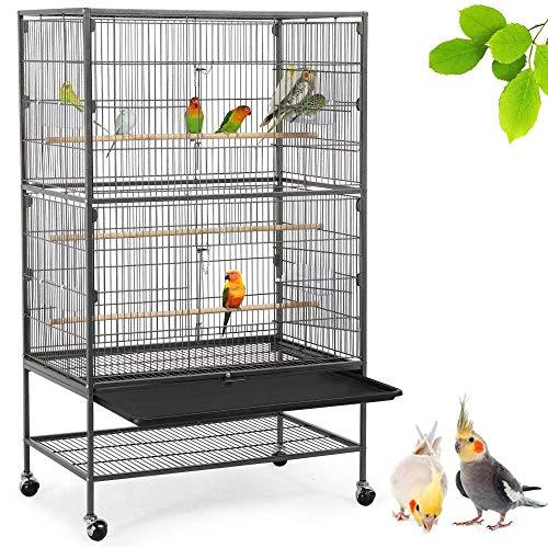 Yaheetech Vogelvoliere Nagerkäfig aus Metall Vogelkäfig mit schmutzwanneneinsatz für Nymphensittiche, Papageien, Tauben, Sittiche, Finken