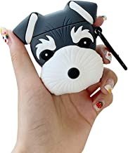 ICI-Rencontrer 3D Cute Schnauzer Design Airpods Case Creative Lucky Dog Animal Wireless Earphone Soft Silicone Anti-Scratch Shockproof Protector For Airpods 1 & 2 With Carabiner Black