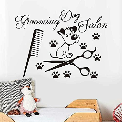 Tienda De Mascotas Calcomanías De Pared Pata De Perro Tijeras Peine Pegatinas De Pared Para Peluquería Canina Vinilo Jardín De Infantes Tienda Interior Mural De Ventana 77X57Cm