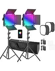Neewer Set van 2 660 Pro RGB LED-videolampen met app-bediening, softbox kit, 360 graden volledige kleur, 50 W videoverlichting CRI 97+ voor games, streaming, zoom, YouTube, radio, webconferentie, fotografie