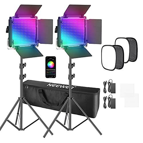 Neewer 2pz RGB Luce 660 PRO LED Controllo via APP, Kit d'Illuminazione con con Softbox, 360° Colori 50W Video Lighting CRI 97+ Regolabili 9 Effetti di Scene