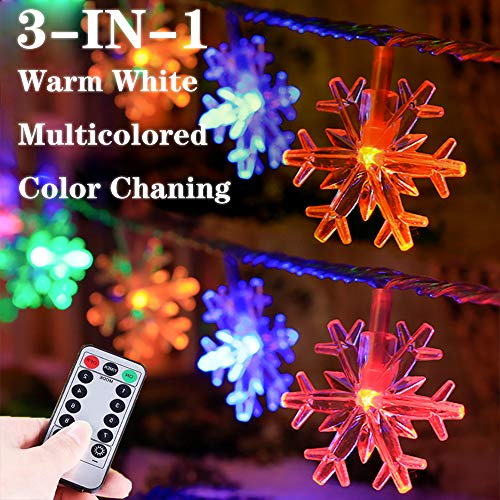 Lumsworld 25Ft 50 LED Snowflake Christmas Lights Battery Operated, Mulitcolor Changing Snowflake Christmas Tree Lights with Timer, Christmas Snowflake Lights for Christmas Wedding Bedroom Room Patio