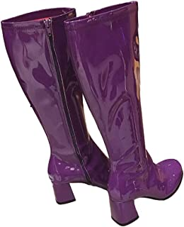 Feminine zipper high-top boots patent leather square head thick-soled boots