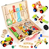 Elitoky Wooden Kids Tool Kit - Pretend Play Toddler Construction Colorful Tool Toy with Box, Building Toy Set Creative DIY Educational Tool Set, Best Gift for Toddlers Girls Boys 3 Year Old and Up