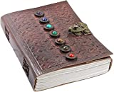 Leather Book of Shadows Journal, Supernatural Notebook with Chakra Gem Stones Healing Crystals and Latch, by AzureGreen (Brown Single Lock)