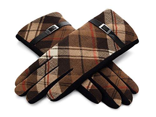 Futrzane Handschuhe Für Damen Mit Riemen Und Buntem Muster P2 (XL, Braun)