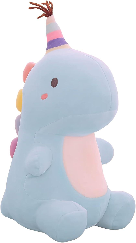 VICKYPOP Dinosaur Plush Toy Soft Stuffed Animal 11.8 inches, Hat Blue Dino