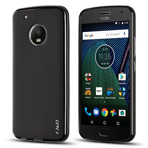 "J&D Case Compatible for Moto G5 Plus Case, [Drop Protection] [Slim Cushion] Shock Resistant Protective TPU Slim Case for Motorola Moto G5 Plus (5.2"") Bumper Case - [NOT for Moto G5 5.0""] - Black"