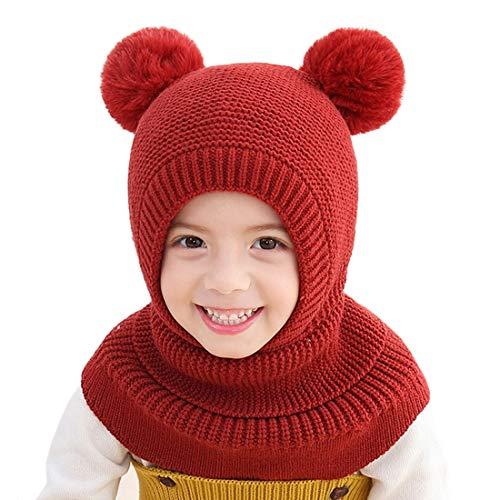 YONKOUNY Kinder Mädchen Wintermütze Warm Niedlich Schlupfmütze mit Bommel Beanie Strickmütze Schalmütze Fleece Mütze (Weinrot)