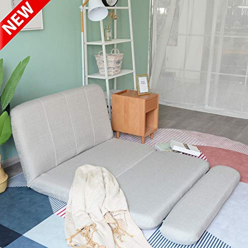 LEEKOUS Fabric Floor Sofa Couch Bed for Living Room, Best Japanese Foldable Lounge Sofa Bed, Bedroom Floor Lazy Recliner Sofa Chair Gaming Chairs Futon with Pillows, 5 Adjustable Reclining Position