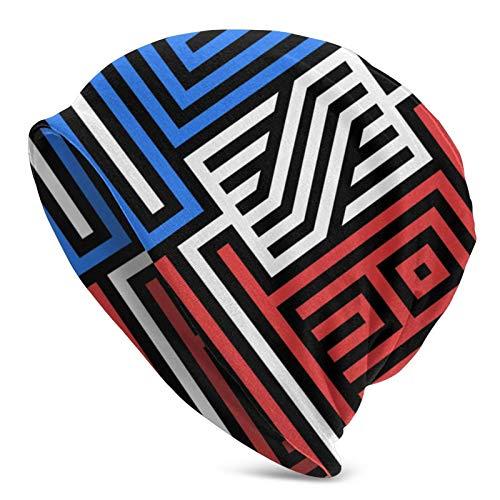 AEMAPE Sombrero de Punto para Adultos con Bandera de Logotipo Americano, Gorro Suave Holgado, Gorro de Skully, Medio pasamontañas, Gorros de Cobertura
