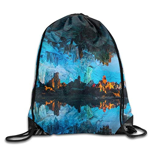 uykjuykj Bolsos De Gimnasio,Mochilas,Gym Drawstring Bags Rock Cave Colorful Draw Rope Shopping Travel Backpack Tote Student Camping Lightweight Unique 17x14 IN