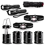 Vont Ultimate Family Camping Bundle - 4-Pack LED Camping Lanterns + Blaze 2-Pack Flashlights + Spark Headlamp + XOR Flashlight - Premium Quality Lighting Pack for Camping & Outdoor Activities