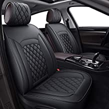LUCKYMAN CLUB 12-SLX Car Seat Covers Full Set Universal Fit for Most SUV Sedan with Faux Leather Compatible with Air Bags (SLX-Black)