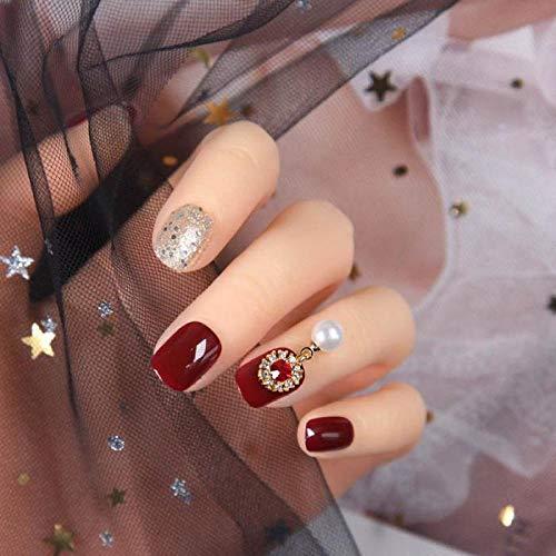 Uñas postizas 24 piezas rojo brillante plata corto redondo falso uñas DIY cubierta completa decoración de uñas postizas