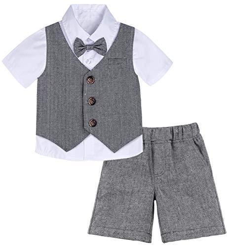 mintgreen Conjunto de Camisa Bebé Niño Caballero Traje Fiesta, 2-3 años, Gris Oscuro (Tamaño del Fabricante: 100)
