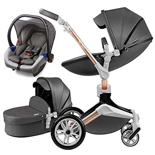 Hot Mom 3 in 1 Kombikinderwagen mit Buggy und Babywanne 360 Drehbar Kinderwagen, Hohe Landschaft PU-Leder Reversibele Aufsätze Federung in PU-Räder, 2020 neues Design-Dunkel Grau