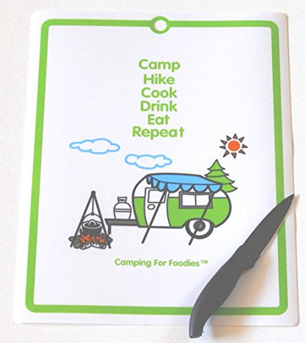 Camping For Foodies Flexible Cutting Mat with Retro RV Camper Theme Design. Fun Message. Camp, Hike, Cook, Drink, Eat, Repeat.