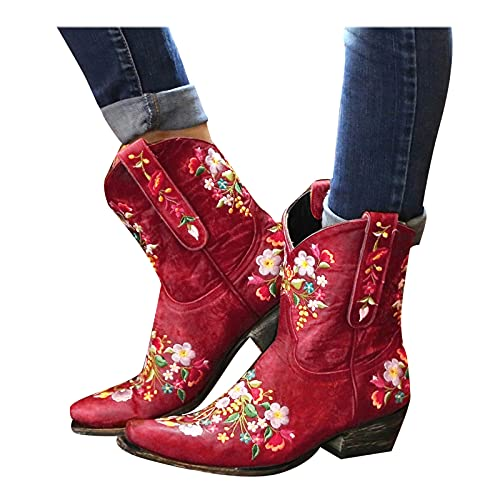 LIANGJIANG Black Boots for Women, 2021 Cowboy Boots For Women Cowgirls Boots Embroidered Retro Shoes Ankle Boots A-Red 7