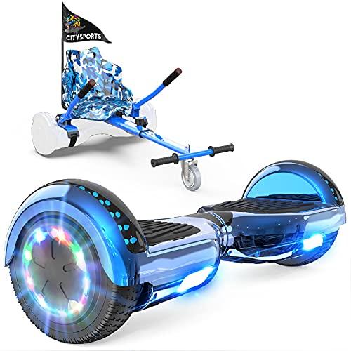 GeekMe Patinete Eléctrico Auto Equilibrio con Hoverkart, Hover Scooter Board, Balance Board + Go-Kart 6.5 Pulgadas con Bluetooth, Luces LED, Regalo para Niños, Adolescentes y Adultos (Blue)