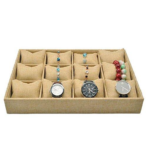GossipBoy öffnen Armband Stacker / Schmuck-Box Anzeige Fall Lagerung Inhaber / Uhr Organizer (12 Sektionen, 12 Kleine Leinen Kissen, Beige, Leinen und Baumwolle Futter, 35 x 24 x 4 cm)