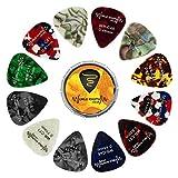 World Rhythm Púas de estaño y púas de guitarra (12 púas de guitarra de calibre mixto, 0,46 mm, 0,71 mm, 0,81 mm)