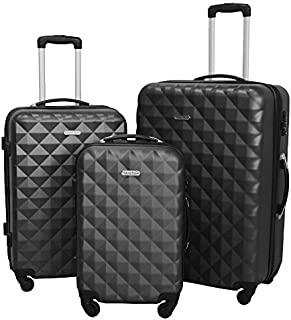 HyBrid & Company Luggage Set Durable Lightweight Hard Case Spinner Suitcase LUG3-SS577A, 3 Pieces, Dark Grey
