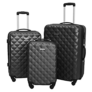 3 PC Luggage Set Durable Lightweight Hard Case Spinner Suitecase LUG3 SS577A DARK GREY DARK GREY
