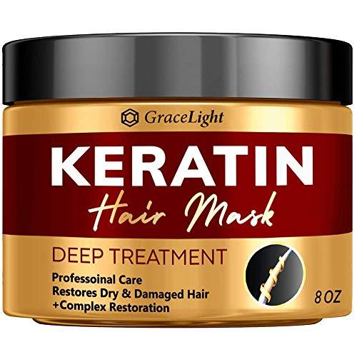 Keratin Hair Treatment - Repairs Dry & Damaged Hair - Professional Keratin Complex with Vitamin E - Aloe Vera - Avocado Oil - Moisturizing Anti Frizz Hair Mask - Keratin Hair Mask Deep Conditioner