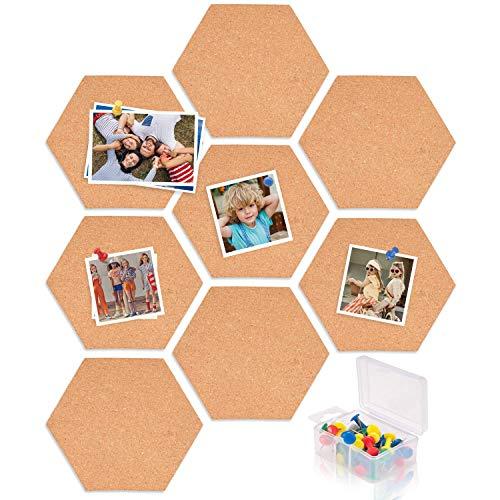 MUSCCCM Pinnwand Kork, 8 Pcs DIY Korkplatte selbstklebende Sechseckige Korkfliesen Wand Memoboard mit 40 Stück Pinnnadeln für Foto hängen, Heimtextilien und Office-Memo