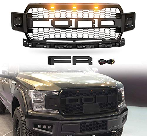 ORoad Auto Raptor Style Grille Mesh Grill, Compatible with Ford F150/F-150 2018 2019 2020, Matte Black