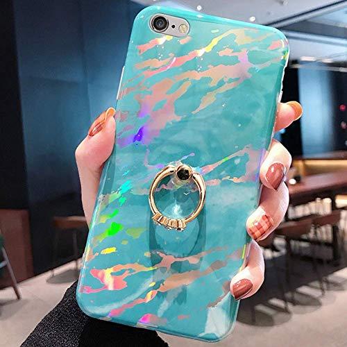 Uposao Kompatibel mit iPhone 8 / iPhone 7 4.7 Hülle Glitzer Marmor Silikon Handyhülle Strass Diamant Handy Ring Ständer Halter Schutzhülle Glänzend Bling Silikon TPU Case Handytasche,Blau