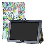 LFDZ Archos Sense 101x 4G Coque, Slim Fit Housse Support Ultra-Mince et Léger Etui Cover pour 10.1' Archos Sense 101x 4G Tablet,Love Tree