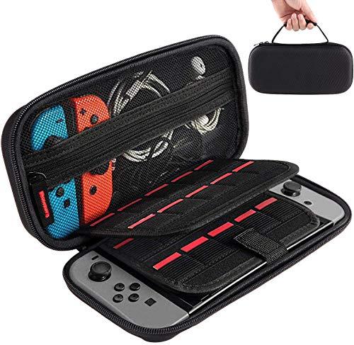 LINCCI Étui de protection rigide pour Nintendo Switch avec cartouches de jeux, sac de rangement, étui de protection rigide pour console Nintendo Switch Joy-Cons, câble de charge USB et accessoires