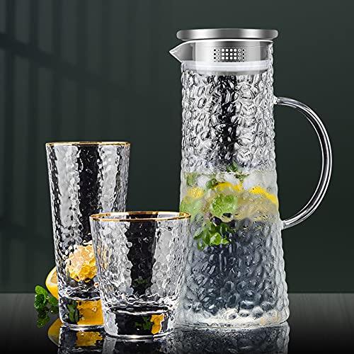 QDTD 3 Piezas Jarra de Agua Cristal Borosilicato Jarra de Agua con Tapa Acero Inoxidable Agua Caliente y Fría Carafe para Agua Leche Zumo Té Helado Limonada y Bebidas Chispeantes(Size:1.8L)