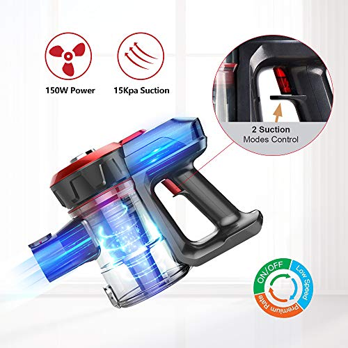 Dibea Cordless Lightweight Stick Vacuum Cleaner, 15000pa Powerful Suction Bagless Rechargeable 2 in 1 Handheld Car Vacuum with Mini Motorized Brush, Red