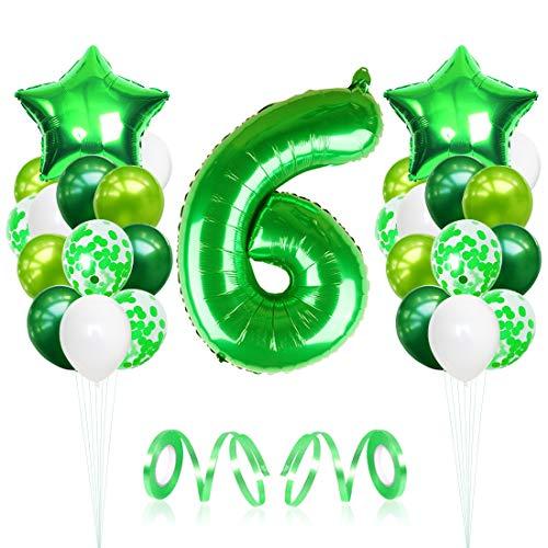 6 Globos de Cumpleaños, Globo 6 año, globo numero 6, Globos Grandes Gigantes Helio Verde, Globos para Fiestas de Cumpleaños