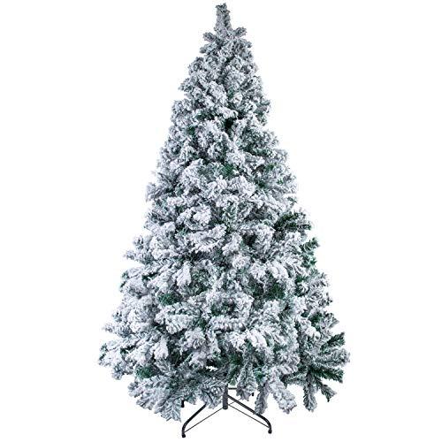 Mbuynow - Albero di Natale floccato bianco con albero di neve artificiale,500 Rami, con staffa in metallo,Facile da Montare,Regali di Natale Tradizionali Interni ed Esterni (1,5 m)
