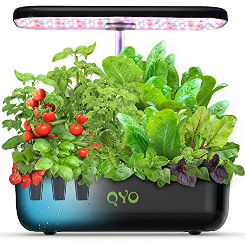 Hydroponics Growing System, QYO 12 Pods Indoor Herb Garden with LED Grow Light and Pump,Fully Automation System of Indoor Herb Garden Starter Kit for Family Home Kitchen Counter