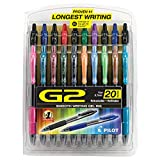 PILOT G2 Premium Refillable & Retractable Rolling Ball Gel Pens, Fine Point, Assorted Color Inks, 20-count (31294) 1 pack