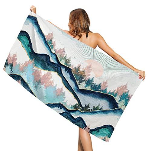 Serie de paisajes Toalla de Playa con impresión Creativa Toallas Deportivas al Aire Libre de Secado rápido Manta de Esterilla de Yoga Cubierta de Silla de Playa Towels-80 * 160cm